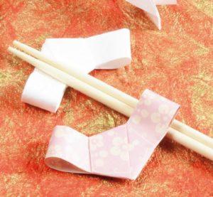 箸袋を千代結びで作る箸置き