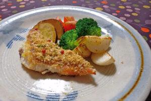 赤魚とパルメザンチーズのパン粉焼き