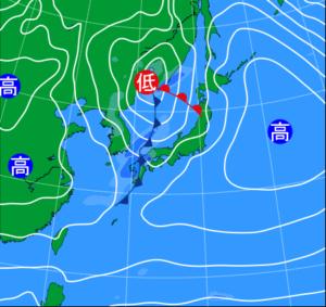 関東地方で春一番が吹いた天気図